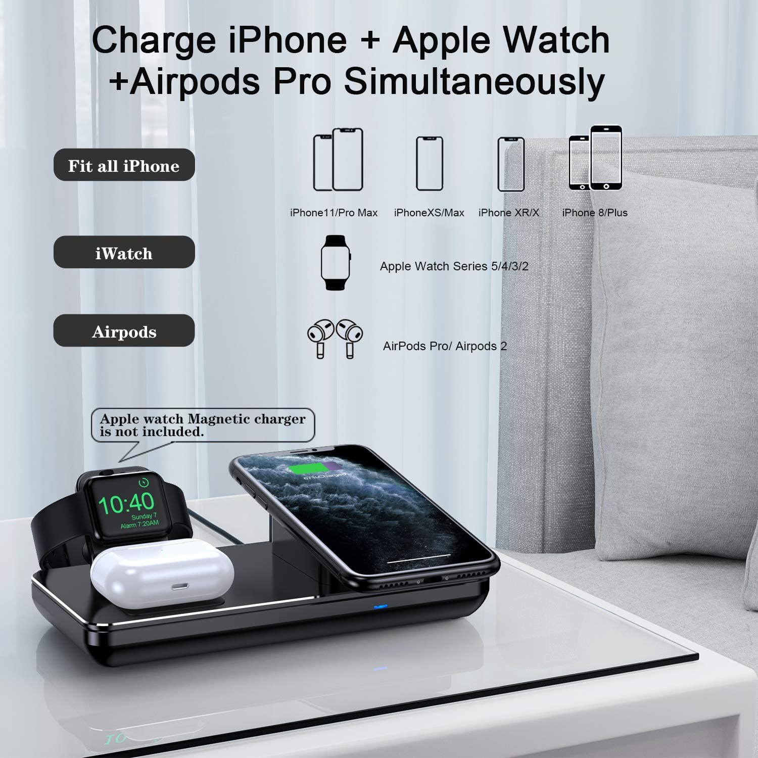 Wireless Charging Station for Apple Watch, iPhone & AirPods Pro