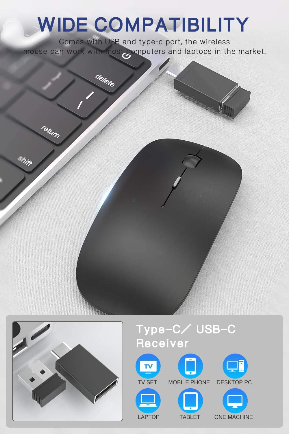 2.4G Slim Window Laptop Wireless Mice, 1600DPI Silent Click Cordless