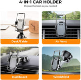 RTAKO Car Phone Holder Mount 360 Degree Rotation Cell Phone Holder for Car Dashboard/Windshield/Air Vent/Desk