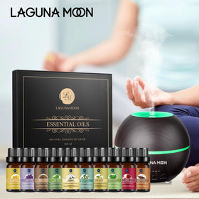 Lagunamoon 300ml Aroma Diffuser with 10 Pcs Essential Oil Set
