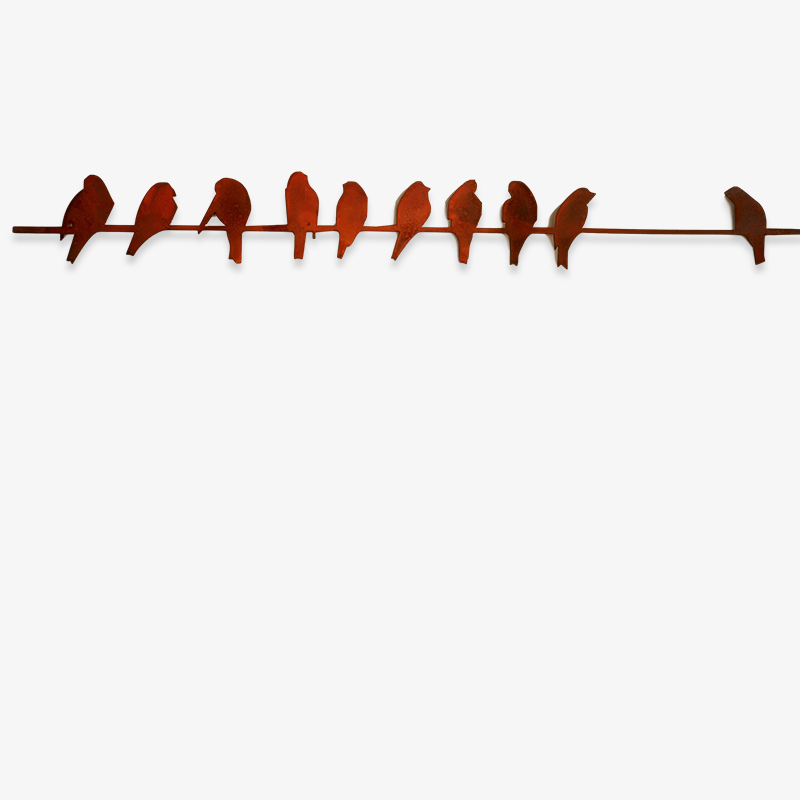 Birds on a Wire Metal Wall Art