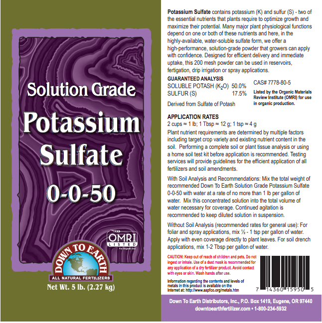 Down to Earth Organic Solution Grade Potassium Sulfate - 5 lb