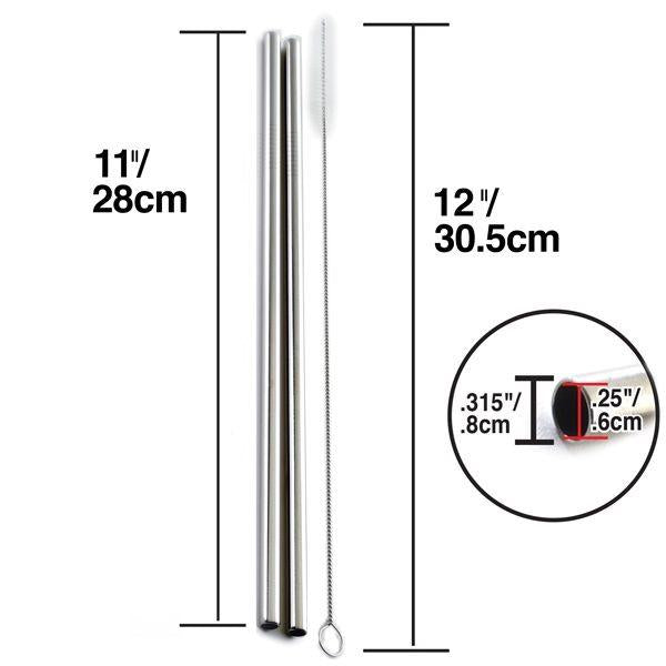 Metal Stainless Steel Drinking Straws - 2/pk with brush