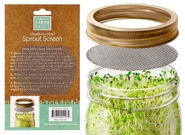 Sprouting Screens-Stainless Steel-Fits a Mason Jar-3.25 in