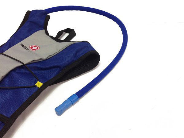 Hydration backpack with a neoprene insulated cover assembled on the drink tube. #HydrationTubeCovers #Hydrate