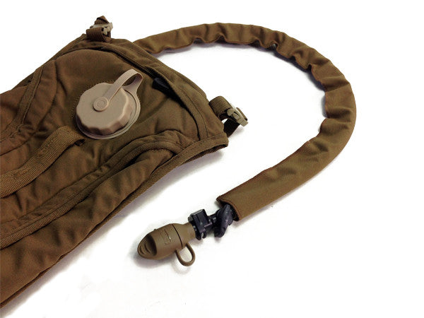 Coyote Brown hydration pack drink tube hose cover shown assembled. #HydrationTubeCovers #Hydrate