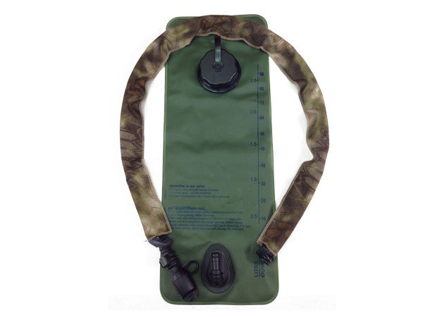 Kryptek Highlander Hydration Pack Drink Tube Cover shown on a water bladder  #HydrationTubeCovers #Hydrate