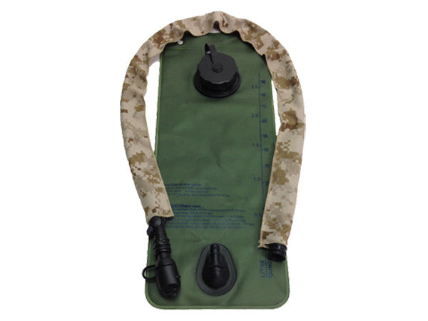 MARPAT Desert Digital hydration pack drink tube hose cover shown on a water bladder drink tube. #HydrationTubeCovers #Hydrate