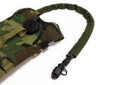 Woodland hydration pack with a drink tube hose cover on it.