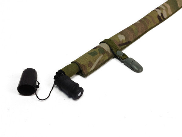 OD Green Hydration pack lanyard clip attached to an insulated sleeve and a multicam cordura drink tube cover.  #Hydrate, #HydrationTubecovers, #Fitness, #Health, #Hydration
