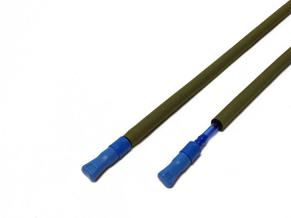 Olive Drab Green hydration pack drink tube covered and exposed. #HydrationTubeCovers #Hydrate