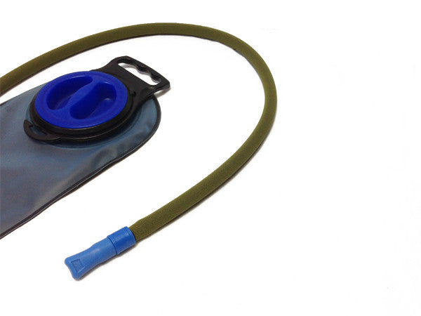 water bladder - reservoir with an insulated drink tube hose cover.