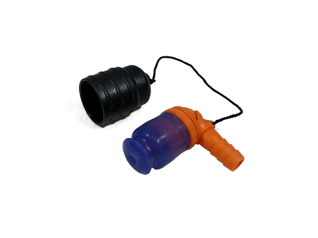 Orange 90 Degree Bite Valve with Lanyard cap - HydrationTubeCovers.com