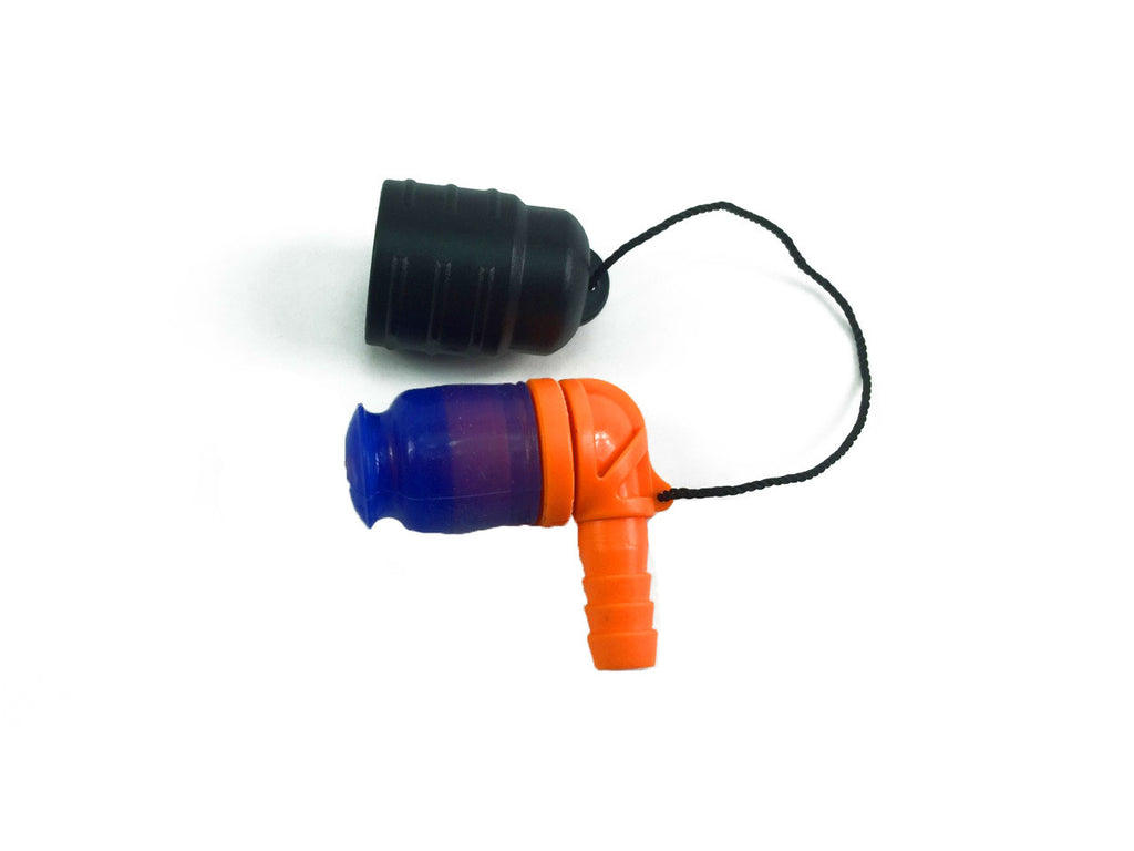 Orange 90 Degree Bite Valve with Lanyard cap