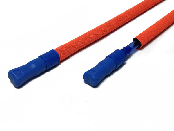 Fluorescent Orange hydration pack drink tube covered and exposed. #HydrationTubeCovers #Hydrate