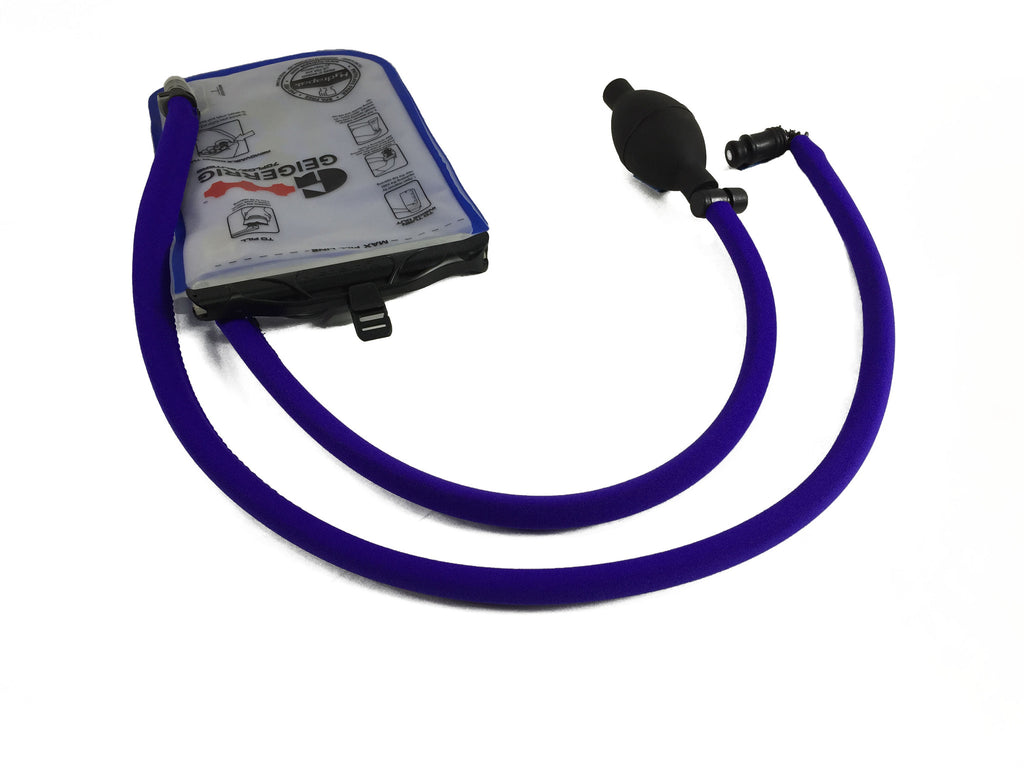 Purple Geigerrig® Hydration Pack Pressurized Engine drink tube covers.