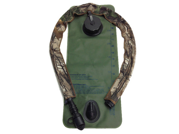 Realtree Xtra hydration pack drink tube hose cover shown on a water bladder drink tube. #HydrationTubeCovers #Hydrate