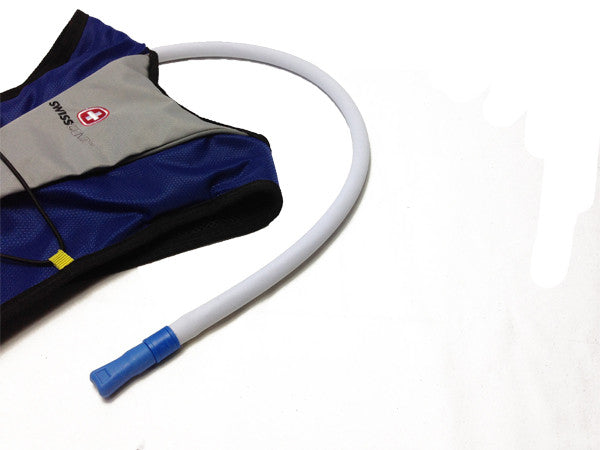 White Hydration backpack with a neoprene insulated cover assembled on the drink tube. #HydrationTubeCovers #Hydrate