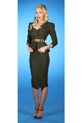 Stop Staring, CADETTE ARMY GREEN Dress, Army Green Military Career Dress, CADETE-03 ARMGN, SPRING SUMMER 2019