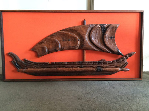 Witco Wall Art - Mid Century Modern - Teak wood, Tiki Collector piece