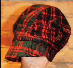 Vintage English Red and Green Plaid Children's jacket and Cap Set. Made in England