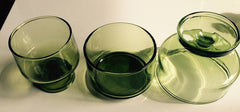 Vintage Large Lot of 43 Danish Green Cocktail and Dessert Glasses  3 styles