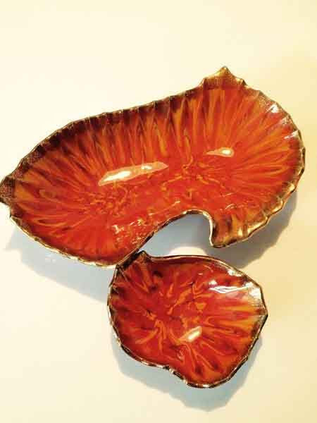 Vintage Orange Rust Enamel California USA 2 Piece Pottery Dish Set