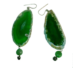 Green sliced agate earrings