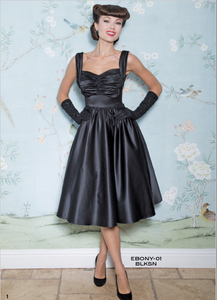 Stop Staring, EBONY Dress, Black Satin Swing Dress, EBONY-01 BLKSN, FALL WINTER 2018