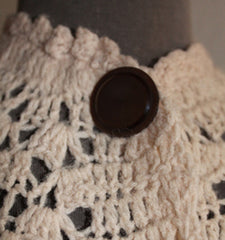 Vintage Tan Crochet Duster Poncho with Big Brown Buttons - one size
