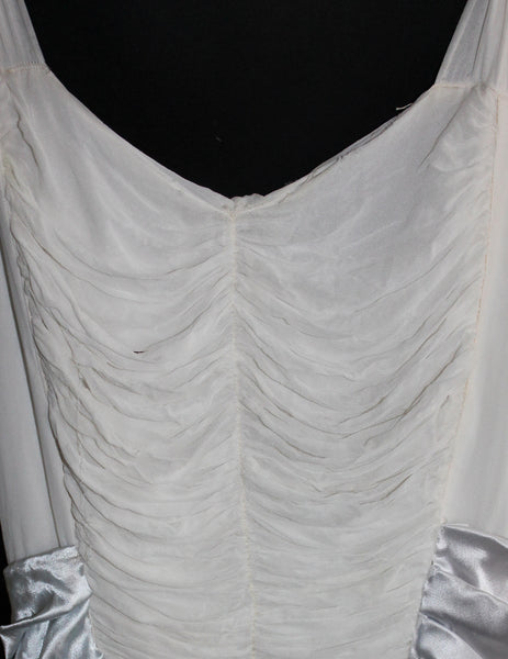 Vintage RARE White Silk Chiffon Formal Art Deco Gown - size 2/4