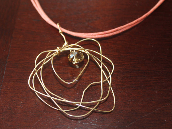 Recycled Wire Wrapped Pendant w Crystal or Stone Handcrafted Necklace -