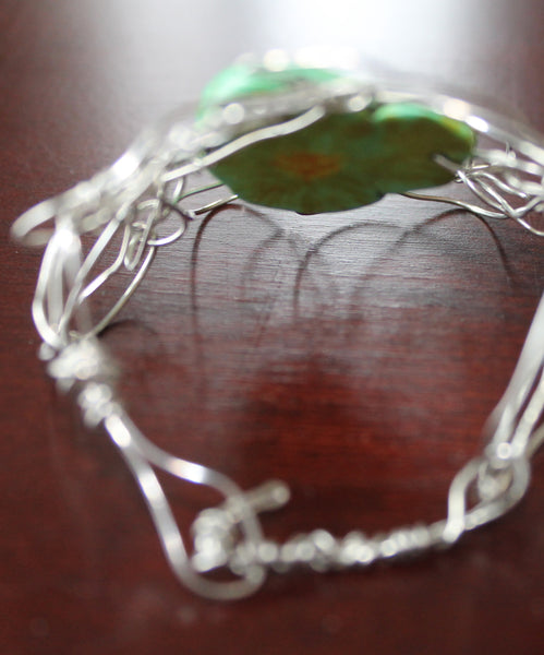 Handcrafted Lime Jasper Recycled Wire Wrap Cuff Bracelet - adjustable