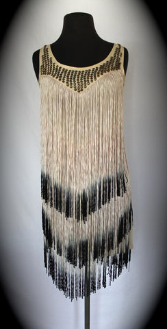 Vintage Cream Tiered Fringe Flapper Dress - size 6