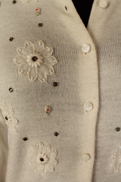 Vintage PLUS size 1950's Peter Fruend cream sweater with flower appliqués