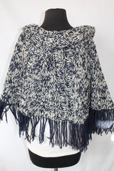 Vintage Navy & Cream Knit Poncho - one size