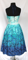 Vintage Alfred Shaheen Turquoise Print Swing Dress - RARE- fits sizes 4 to 8