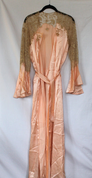 Vintage Peach Lace Robe - one size