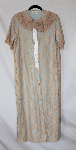 Vintage Blue and Beige Lace Robe - One Size