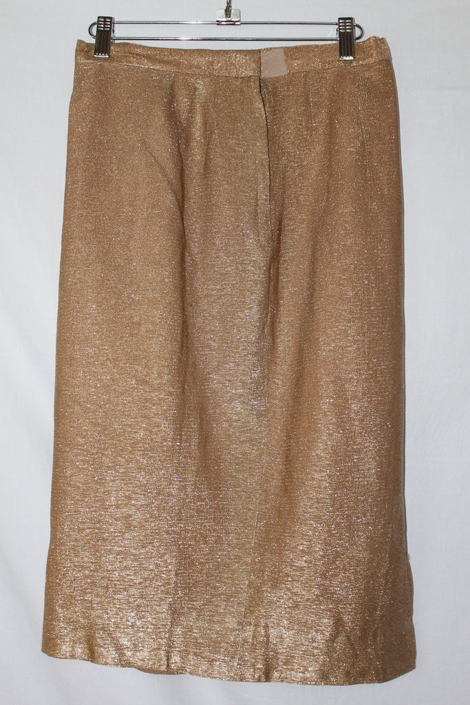 Vintage Gotham Originals Gold Metallic Pencil Skirt - Size 8
