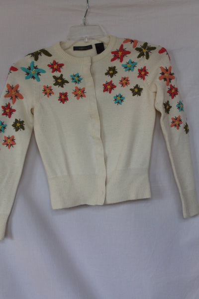 Vintage Liz Claiborne Creme Sweater with Flower Design - Small