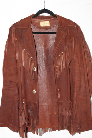 Vintage Cherokee Togs Brown Leather Jacket with Fringes XL
