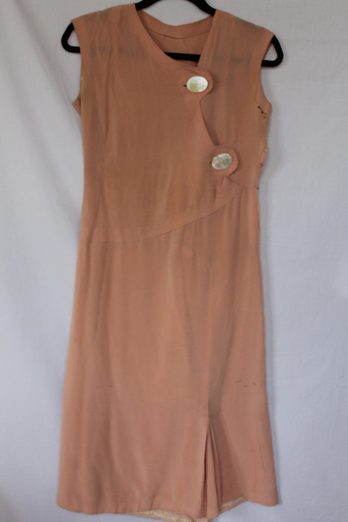 Vintage Peach Art Deco Dress with White Lucite Buttons - size 4