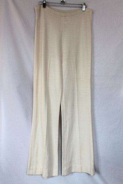 Vintage Carnaby Cream Wide Leg Knit  Pant Size- L