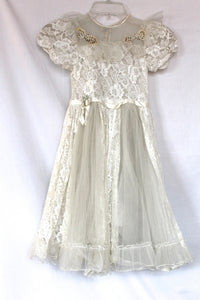Vintage Girls First Communion or Flower Girl White Lace Dress