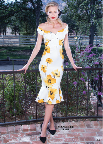 PRE ORDER Stop Staring, MARLEEN Dress, Yellow Floral Print Dress, MARLN-02 YLWRS