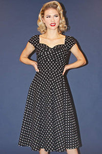 Stop Staring, MAD STYLE, BLACK POLKA DOT Swing Dress, MDSTYLE-01 BLKWD