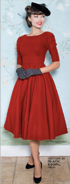 Stop Staring, OCTOBER Dress, Red Long Sleeve Swing Dress, OCTBR-01 RED, FALL WINTER 2018