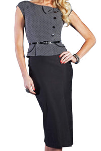 Stop Staring, PARK PLACE  Dress, Black W Grey Dots,  PRKPL-03 GFBLS