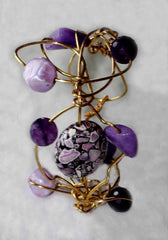 Purple Wire Wrapped & Vintage Bead Cuff Bracelet - Adjustable
